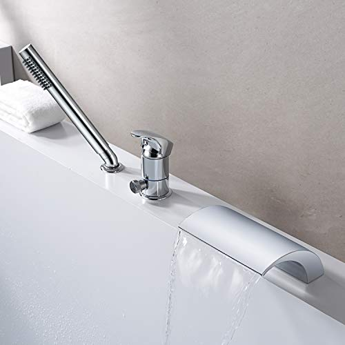 3 Hole Waterfall Roman Tub Faucet Deck Mount Bathtub Faucet with Hand Shower Chrome Finish, High Flow