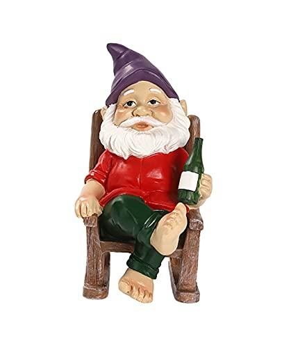 Archen Garden Statue, 15cm Fairy Elf Dwarf Garden Ornaments, Resin Decor, Gnome Sitting in Rocking Chair with Wine Bottle, Decoration for Home Garden Lawn Patio Yard, Indoor & Outdoor