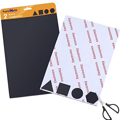 Rubber Non Slip Pads Self-Stick 2 Pieces Black Rubber Pads Anti Skid 4x6 inch