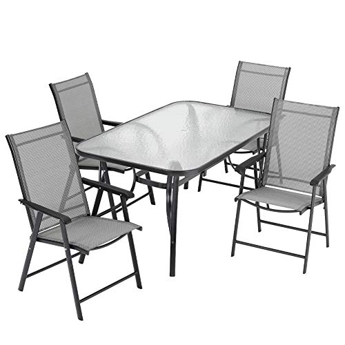 Warmiehomy Patio Table Chair Set Garden Backyard Coffee Table with 4pcs Garden Chair Set, Outdoor Dining Table Chair Set Sunloungers for Garden,Terrace (Black, 120x80x72 Table+4pcs Chairs)