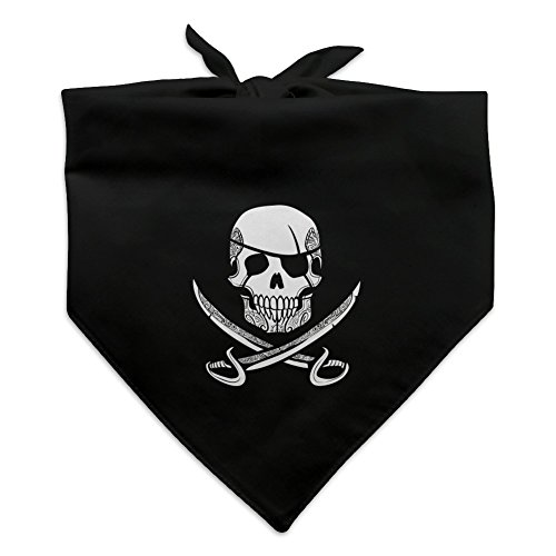 Graphics and More Pirate Skull Crossed Swords Tattoo Design Dog Pet Bandana - Black