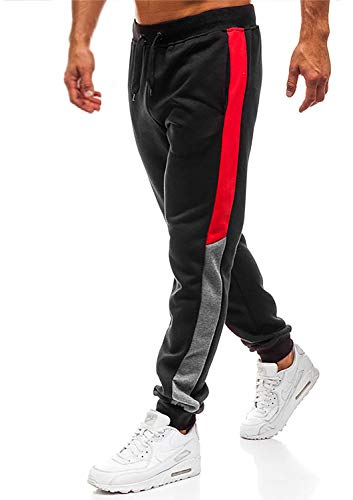 Herren Hosen Hose Sporthose Trainingshose Cargo Pants Jogginghose Sweatpants Jogger Mode Freizeit Laufen Streifen Enger Beinabschluss(Schwarz,XL)