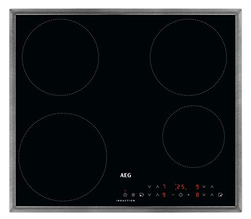 AEG IKB6430AMB Autarkes Kochfeld / Induktion / 60 cm / Edelstahlrahmen / Aufliegend / 4 Kochzonen / Powerfunktion / Kindersicherung