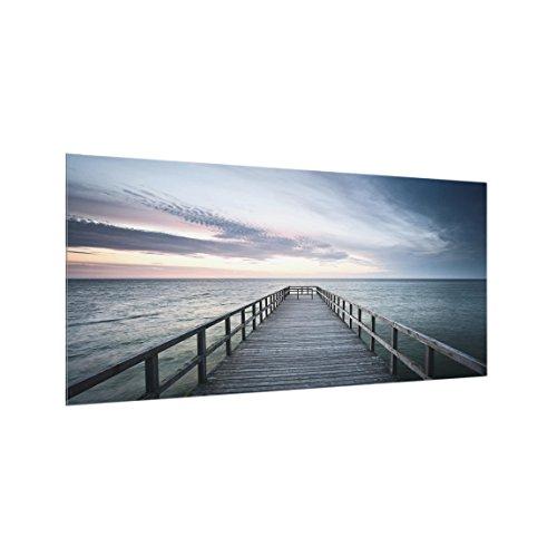 Bilderwelten Spritzschutz Glas - Steg Promenade - Quer 1:2, HxB: 40cm x 80cm