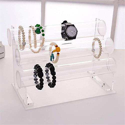 Jewelry Rack Women's Wood Bracelet Holder Jewelry Display Stand Detachable Watch Bangle Bar Necklace Storage Organizer Display stand (Color : Acrylic, Size : 31.5 * 17 * 21cm)