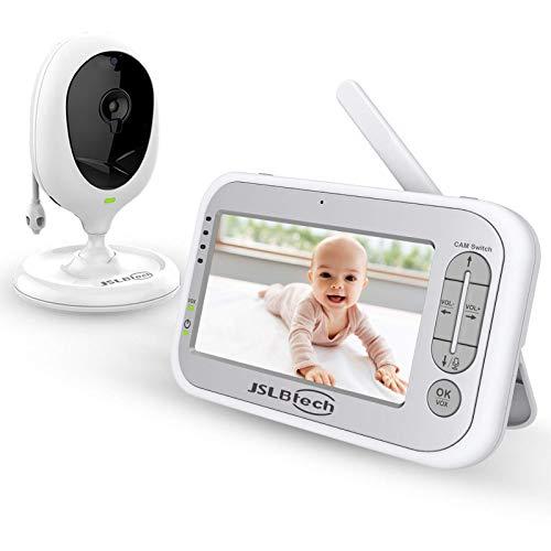 """JSLBtech Baby Monitor Videocamera con Schermo LCD da 5"""" Funzione Interfono Visione Notturna Monitoraggio della Temperatura Risparmio Energetico/Vox Ninne nanne (Supporta fino a 4 telecamere)"""