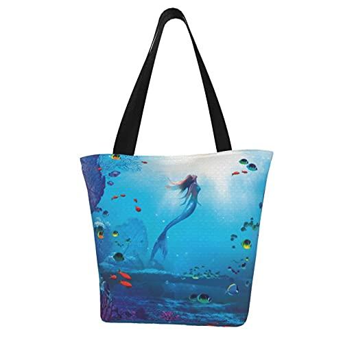 Little Mermaid - Bolsas de hombro para mujer, diseño de sirena, de gran capacidad, multiusos