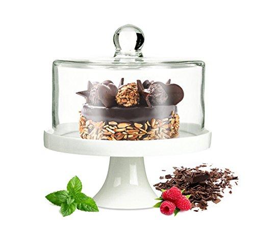 Sendez Kleine Kuchenglocke mit Fuß aus Porzellan Käseglocke Glasglocke Tortenplatte Kuchenplatte