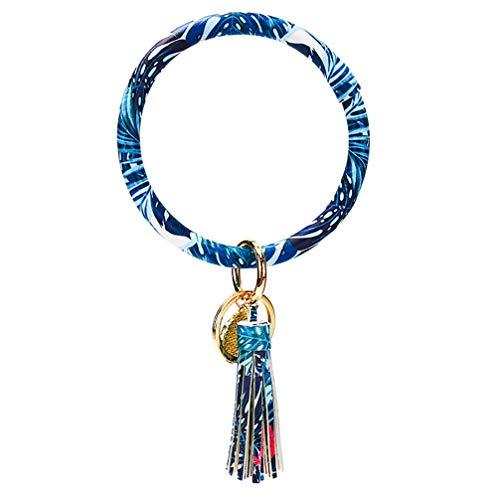 Kyoidy Llavero de pulsera con diseño de círculo, grande, de piel sintética, con borla, para mujer y niña, color azul