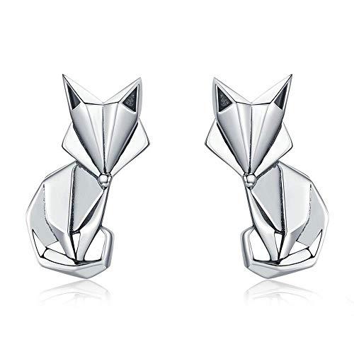 925 Sterling Silver Fashion Folding Fox Animal Stud Earrings for Women Sterling Silver Jewelry