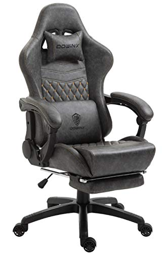 Dowinx Gaming Chair Office Chair PC Chair with Massage Lumbar Support, Vintage Style PU Leather High Back Adjustable Swivel Task Chair with Footrest (Light Grey)