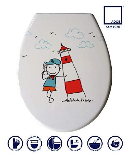 ADOB 59857 Duroplast WC Sitz Klobrille Modell Leuchtturm mit Absenkautomatik, zur Reinigung abnehmbar