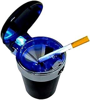 Sturmaschenbecher mit Deckel und blauer LED Aschenbecher Windaschenbecher