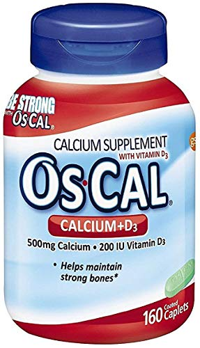 Os-Cal Calcium + D3 500 mg Calcium Supplement with 200 IU Vitamin D3 to Help Maintain Strong Bones, Coated Caplets - 160 Count (160 Count) -  68137411