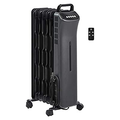 AmazonBasics Portable Digital Radiator Heater with 7 Wavy Fins and Remote Control, Black, 1500W