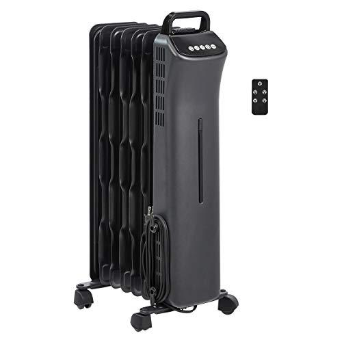 Amazon Basics Portable Digital Radiator Heater with 7 Wavy Fins and Remote Control, Black, 1500W