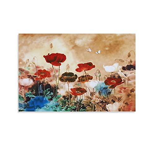 Flores floridas para decoração de parede do mar, borboletas, arte voadora, trabalho adequado para arte de parede em tela para sala de estar, arte abstrata, arte de parede de cozinha, imagens de decoração de banheiro, arte de parede 12 × 18 polegadas (30 × 45 cm)