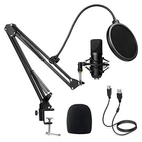 Diealles Shine Micrófono USB Condensador, Microfono Streaming 192KHz/24Bit con Filtro Antipop para Facebook TIK Tok Skype Youtube, Ordenador Portátil, Tableta, Móvil, Mac, Negro