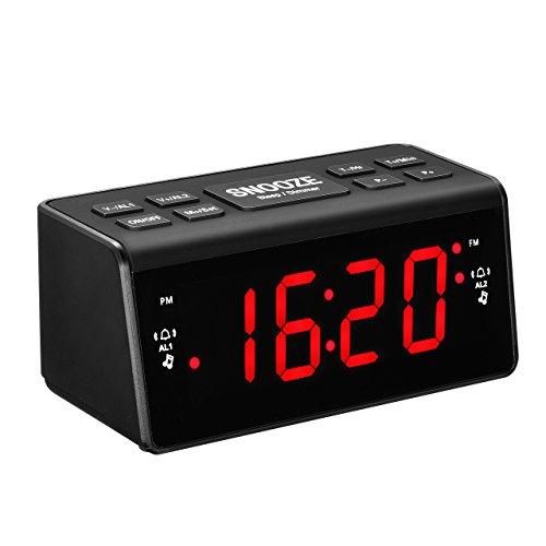 Radio Despertador con Alarmas Duales/Reloj Digital de Cabecera con Puerto USB/Regulable Pantalla LED de 6 '/ Respaldo de Batería/Snooze