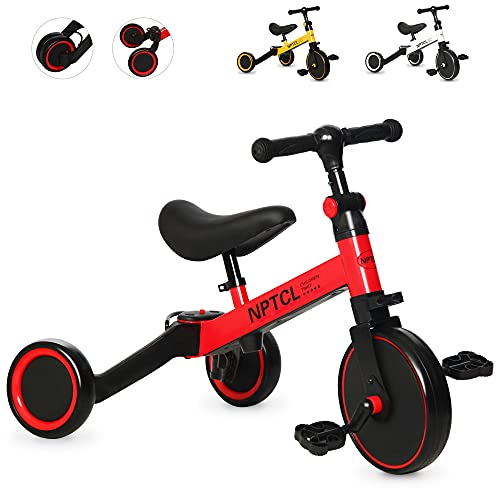 NPTCL 3 in 1 KidsTricyclesfor 1-3 Years Old Toddler Bike3 Wheel Kids Trikefor Boys Girlswith Adjustable Seat & Handlebar, Removable Pedals(red)