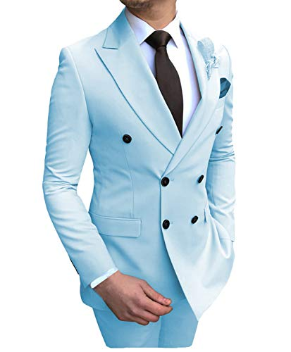 Aesido Men's Suits 2 Pieces Double Breasted Regular Fit Notch Lapel Solid Prom Tuxedos Wedding (Blazer+Pants) Baby Blue