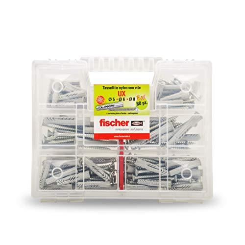 Fischer Kit UX, 80tacos con tornillo para montaje sobre pared Pieno, ladrillo perforado, yeso, 544257