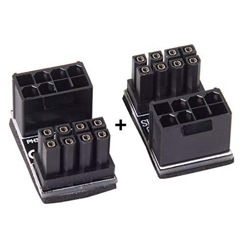 Cablecc ATX 8-Pin Buchse auf 8-Pin Stecker, 180 Grad abgewinkelter Netzadapter für Desktop-Grafikkarte