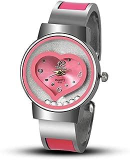JIANGNIAU Watches Heart Shaped Quartz Watch for Women(Black) (Color : Pink)
