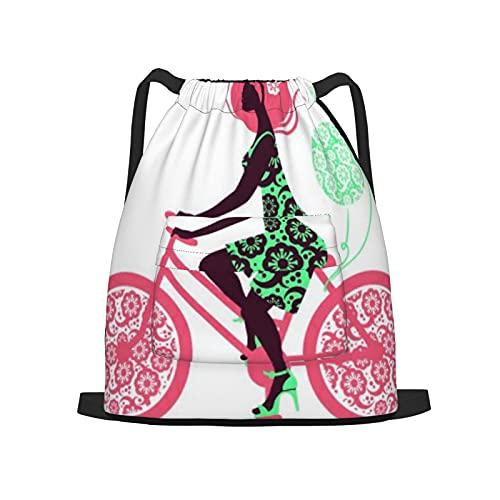 BohoMonos Mochila deportiva con cordón,Silueta, de, hermoso, niña, en, bicicleta, Gym Sackpack para Hombres Mujeres Niños Yoga Travel Camping String Bag.