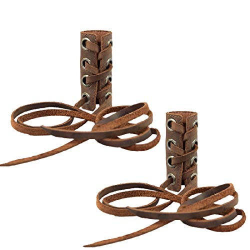 Hide & Drink, Leather Hair Ties (2 Pack) / Ponytail/Braid Holder/Wraps/Long Hair Accessories, Handmade Includes 101 Year Warranty :: Bourbon Brown