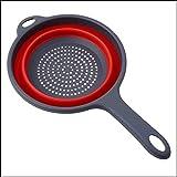 Colador de fregadero de silicona plegable Colador colador de arroz colador de fregadero con mango perfecto ahorro de espacio inteligente utensilios de cocina equipo de camping (rojo/gris)