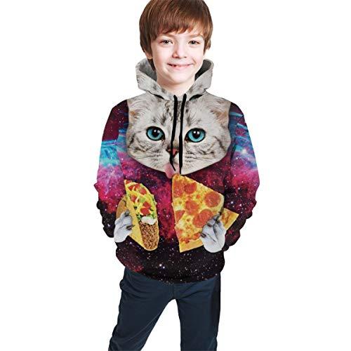 Boys' Teen Youth Galaxy Space Kitten Cat Eat Taco Pizza Sweatshirts Pockets Hoodies 7-20Y, L