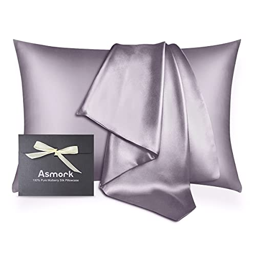 Asmork 100% Mulberry Silk Pillowcase for Hair and Skin, Both Side 19 Momme Real Silk, Hidden Zipper Washable Pure Silk Bed Pillowcase Covers, Envelope Gift Box,1PC (Lilac Purple, Standard 20''×26'')