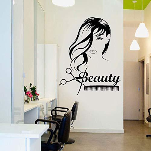 YHZSML Beauty Girl Langes Haar Schere Kamm Barbershop Wandaufkleber Vinyl Abnehmbare Innenaufkleber an der Wand Friseur Kunst 42x53cm