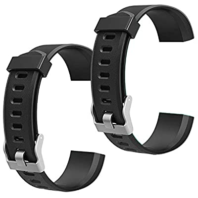 scarDS Replacement Bands for Fitness Tracker ID115PlusHR, Pedometer Wristbands - Adjustable Replacement Bands for Activity Tracker Straps for ID115 Plus,ID115 PlusHR (Black&Black) …