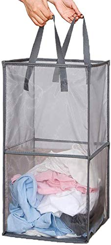 Mesh Popup Laundry Hamper with Handles Portable Durable Collapsible Dirty Clothes Mesh Basket Foldable for Laundry Storage Kids Toy College Dorm or Travel