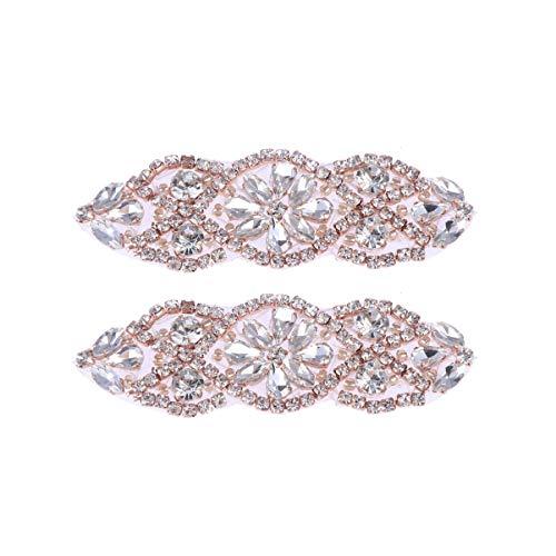 HEALLILY 2 Piezas Apliques Diamantes Imitación para Vestido de Novia para Bricolaje Costura Artesanal Sastrería (Oro Rosa)