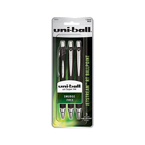 uni-ball Jetstream RT Ballpoint Pens, Bold Point (1.0mm), Black, 3 Count