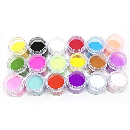 Anself 18 Colores Acrílico para Arte de Uñas, Tallado en Polvo, Decoración de Uñas, Juego en Polvo 3D, Juego de decoración DIY