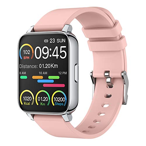 Smartwatch 1.69'' Full Screen Orologio Fitness Uomo Donna Fitness Activity Tracker Smart Watch con Impermeabile IP67 Sportive Sonno Cardiofrequenzimetro da Polso Notifiche Messaggi Contapassi Rosa