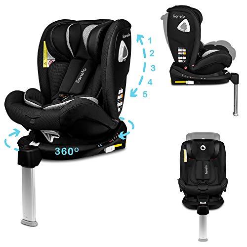 Lionelo Braam Kindersitz Isofix und Stützfuß oder Autogurte Kindersitz Auto 0-36 kg Rückwärts und Vorwärts gerichtete Fahrt 360 Grad drehbar Seitenschutz (Schwarz)