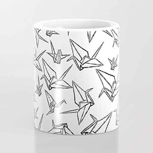 Taza de café con diseño de Grullas de Origami Linocut de 325 ml