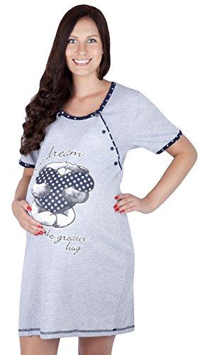 Mija - Camicia da notte 2 in 1 cotone Premaman / Allattamento / allattamento al seno 2056 U (IT 42, Blu navy)