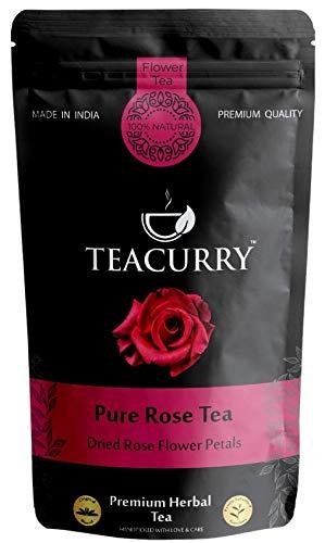 TEACURRY – Rose Petal Tea Organic | 100g Rose Tea Leaves, 100 Cups | Helps Lose Weight, Boosts Digestion, Relieves Anxiety, Increases Skin Glow | Rose Tea Drink (100 Grams | 100 Cups)
