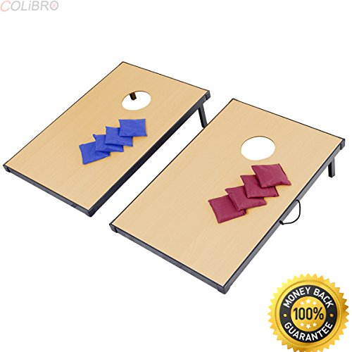 COLIBROX--Foldable Wooden Bean Bag Toss Cornhole Game Set Boards Tailgate Regulation Baggo. Travel Bean Bag toss Game. Best Corn Ball Game Amazon. 8 Bean Bags in Red and Blue Color. Corn Ball Game.