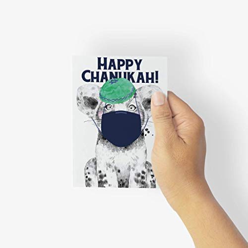 Covid Happy Hanukkah Greetings Cards - 24 Quarantine Animal Cards w/White Envelopes - Face Mask Animal Chanukah Designs - Personalized Stationery Printed in the USA by RitzyRose