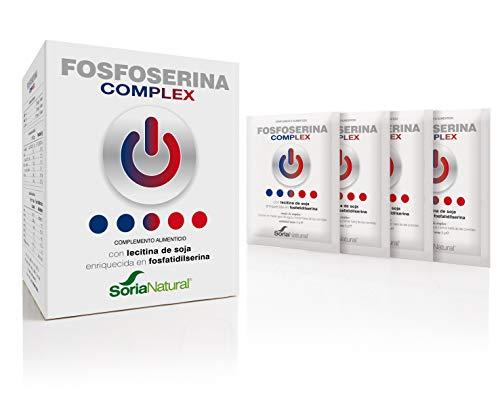 Soria Natural - FOSFOSERINA COMPLEX - Complemento alimenticio - Mejorar el rendimiento y la atención - 18 sobres - Potencia memoria - producto derivado de la lecitina de soja