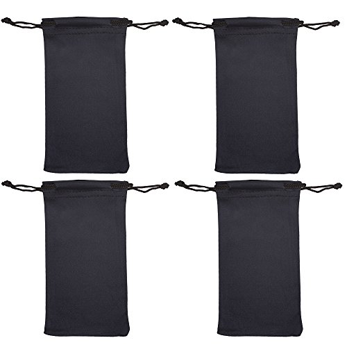 Microfiber Eyeglass Pouch -4 Pack- Glasses Holder Sunglasses case, For Storage & Cleaning - Can be Used for Jewelry & Smartphones -Black- By OptiPlix