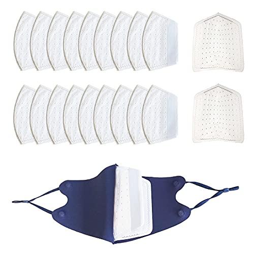 呼吸フィルター マスク用取り替えシート フィルター 使い捨て 不織布フィルター 交換マスクフィルター 高機能 粉塵 微小 活性炭フィルター (20, 立体フィルター+洗えるマスク1枚)