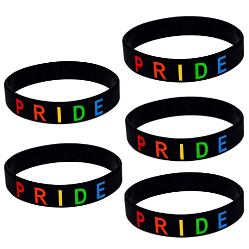 PRIDE Bracelet, Silicone Wristbands, Support LGBTQ, Rainbow Color (1, 2, 5, and 10 Packs Available)